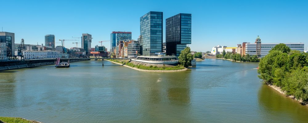 Dusseldorf city cityscape Rhine with river